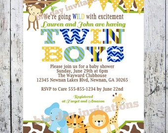 Twin Boys Safari Baby Shower Invitations, Jungle Animal Theme, Printable Invite for Twins, Boy or Girl Birthday too