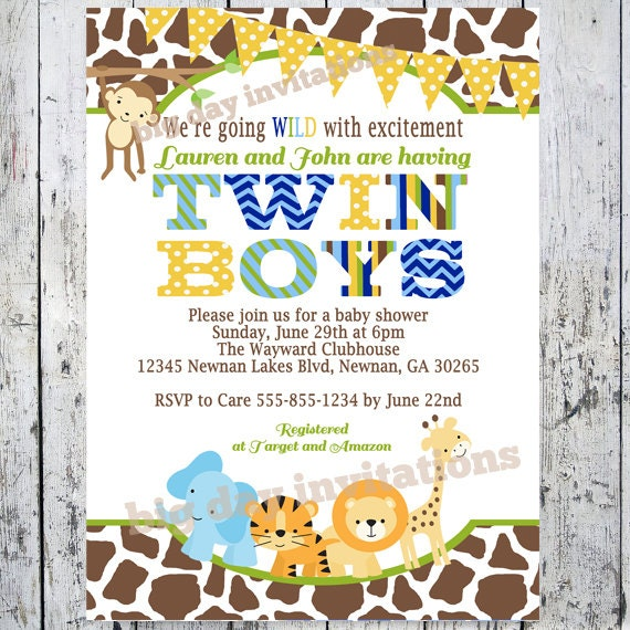 Twin Boys Safari Baby Shower Invitations Jungle Animal Theme