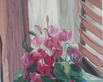 Original painting, Vintage gouache Still-life,Original Home Decor, floral still-life,Cyclamen flowers,Floral wall art,Pink flower in a pot