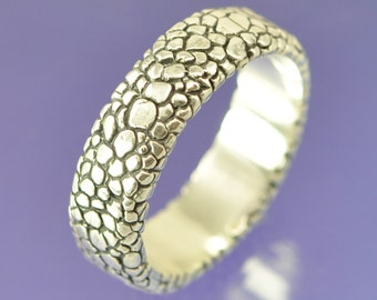 Snakeskin Texture Silver Ring