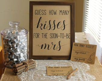 Guess How Many Kisses . Guess How Many Kisses for the Mrs . Bridal Shower Game . Wedding Shower Game . Bachelorette Party Night . Rustic .