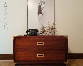 S H A N E | Campaign Furniture | End Table |  Mid Century Modern | Nightstand | SOLD