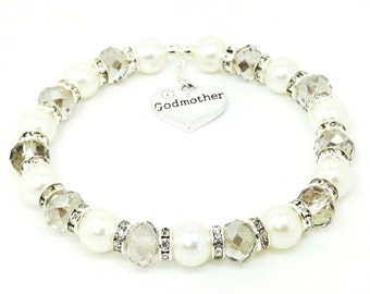 Personalised Godmother Charm Bracelet Ladies Gift For Christening Birthdays Weddings