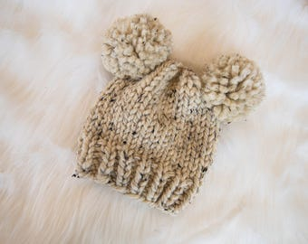 Knit Baby Bear Hat / Child Chunky Beanie / Knit Bear Hat Pom Poms / Toddler Knit Baby Hat / Bear Knit Child Hat