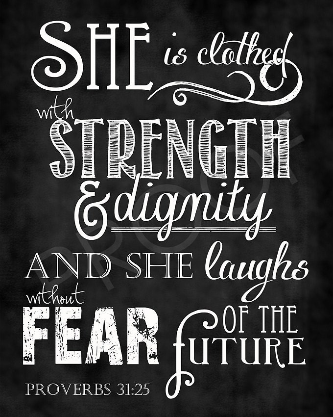 Proverbs 31 25 Quotes: Scripture Art Proverbs 31:25 Chalkboard Style