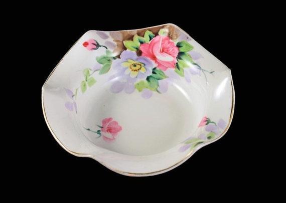 Antique Porcelain Nippon Bowl, Rising Sun Mark,  Hand Painted Floral Pattern, Flared Edges, Gold Trim