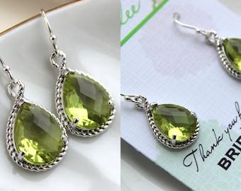 Silver Peridot Earrings Apple Green Wedding Jewelry Peridot Bridesmaid Earrings Gift Peridot Green Bridal Jewelry Personalized Gift Under 25