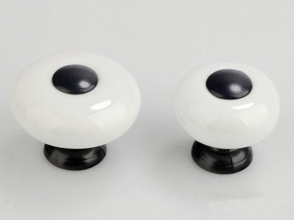 Small Knobs Dresser Knob White Black Ceramic Kitchen Cabinet