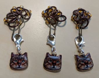 Cat Stitch Markers - Brown (Fit up to size 4 mm/US6)