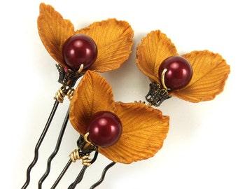 Golden Leaf Berry Hair Pins - Autumn Wedding Hair Accessories, Rustic Wedding Hair Pins, Autum Leaves Hair Pins