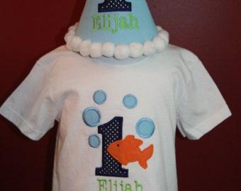 TLB Boy or Girl Personalized Birthday Goldfish Fish Hat and Shirt set Photographers Props Cake Smash