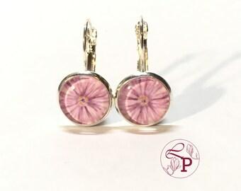 Leverback earrings | Flower earrings | Silver earrings | Daisy earrings | Botanical jewelry | Flower jewelry | Gift for Her | Botanical Art
