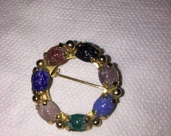 Vtg multi colored stones, scarab brooch, scarab pin, bug pin, costume jewelry