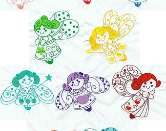 Cute Fairies - INSTANT DOWNLOAD - Machine Embroidery - 4x4 hoop