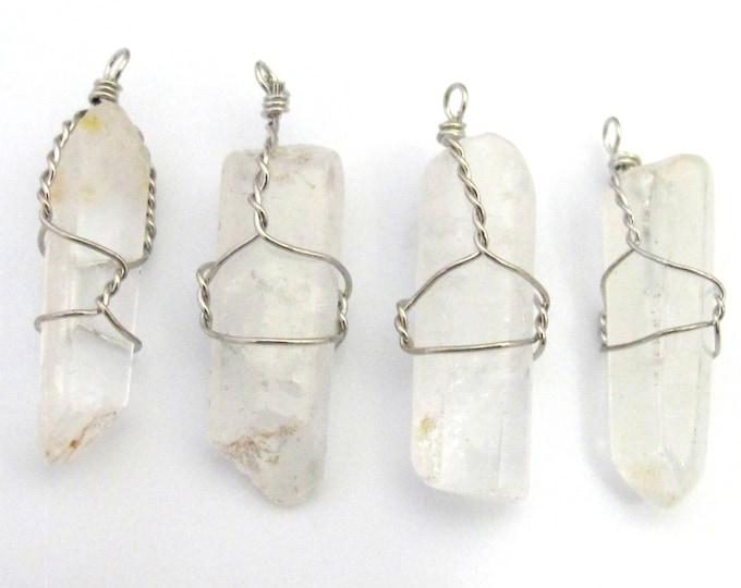1 Pendant - Clear quartz point wire wrapped pendant - PM328A