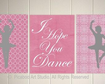 I hope you dance, ballerina nursery art, french nursery decor, retro nursery decor, Set of 3