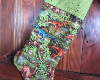 Quilted Christmas Stocking, Dinasour Christmas Stocking, Little Boy Stocking,