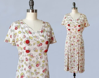 1930s Dress / 30s Cream Floral Day Dress / Flutter Sleeves