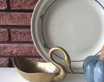 Vintage Brass Swan Dish