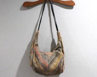 Vintage Womens Purse Cloth Shoulder Bag 70s 80s Multi Colored Fabric