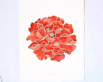 Peony Print - Watercolor Peony Flower, Red, 8x10