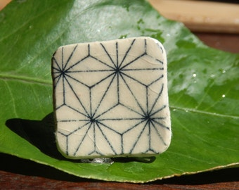 Funky Square Ceramic Geometric Star Patterned Ring