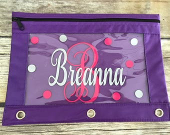Personalized 3 Ring Pencil Pouch, Back To School, Pencil Case, School Supplies, Zipper Pencil Pouch, Monogram Pencil Pouch, Binder Pouch