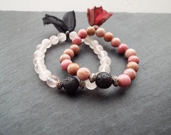Stacking Bracelet Set - Essential Oil Diffuser Bracelet - Layering Tassel Bracelet - Boho Lux Bracelet - Trendy Tassel Bracelet