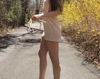 by the sea - natural caramel soft cotton gauze beach cover up boho hippie mini dress xs small