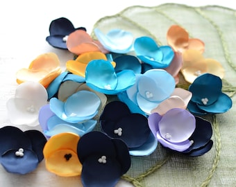 Fabric flowers, applique grab bag, satin appliques, floral embellishments, fabric hydrangeas (30 pcs)- Grab Bag in Assorted Colors (403)