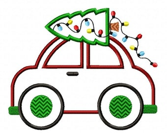 Christmas Tree Car Machine Embroidery Design