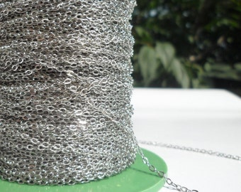 Silver Chain, Brass Chain, 10 Meters - 33 Feet (1.5x2mm) Silver Tone Brass Soldered Chain - Y005  ( Z015 )