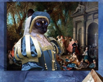 Siamese Cat Fine Art Canvas Print - Dance before a Fountain