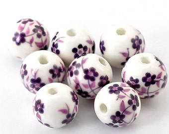 10 Ceramic Beads 12mm - Striking Purple and White Floral Pattern - BD151