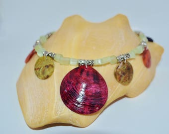 Ankle Bracelet Shells & Glass Chips, Tribal Shell Anklet, Glass Chip Anklet, Shell Bead Anklet, Shell Anklet