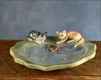 Special Cat lovers ceramic trinket dish Anita Reay ceramic bowl ginger cat tabby cat turtle ring dish teabag holder Anita Reay Etsy