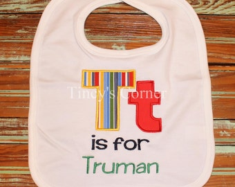 Capital and Lowercase Letter is for First Name Appliqued Bib