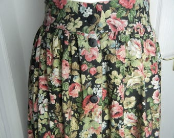 Berkeley Square by Nightingales Size 14 Floral Skirt Midi Button-Up Cotton VGC