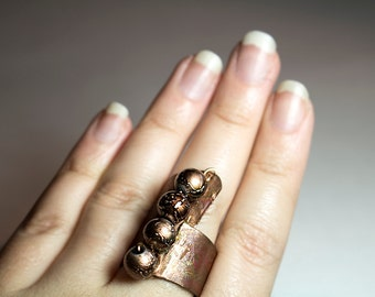 Adjustable Unique Copper Ring with Pearl Beads OOAK