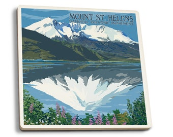 Mount St Helens WA Before After Views - LP Artwork (Set of 4 Ceramic Coasters)