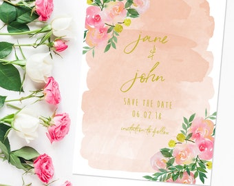 Watercolor Save The Date- Flower Save The Date - Custom Save the Date Printable- DIY Digital Download- Wedding Announcement