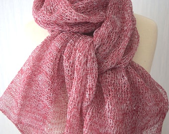 Linen Shawl Natural Wrap Darker Red White Knitted Summer Scarf for Women