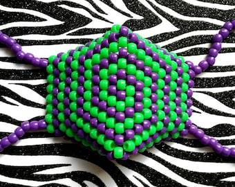 Purple Green Kandi Mask, Spiral Surgical Mask, Neon Kandi,  Plur Rave Accessories