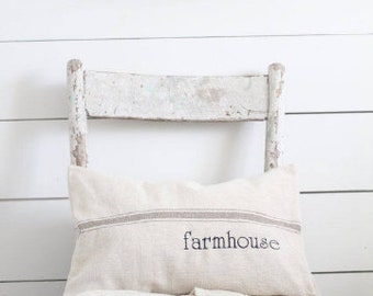 Farmhouse Grain Sack Pillow, Available with Blue, Tan, Black, and Red Stripes
