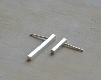 Mismatched earrings bar earrings sterling silver earrings geometric earrings asymmetrical earrings minimal earrings - amejewels