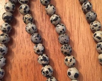 Natural Dalmation Jasper Beads 8mm