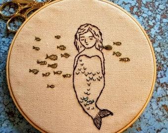 Mermaid Embroidery Hoop Wall Hanging