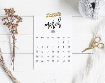 2018 Simple Monthly Desktop Calendar Christmas Gift with Magnet Option | Small Desk Calendar Gift for Coworker | Holiday Gift Guide Women