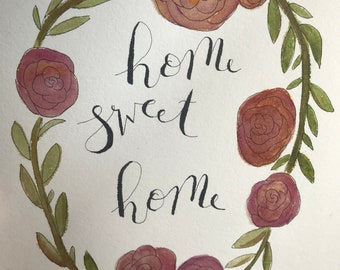 Home sweet home watercolor and ink painting, 8x10