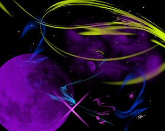 """Limited Edition Print.  """" Space in my mind 5 """" Digital painting, Wall art, Painting. Art print"""